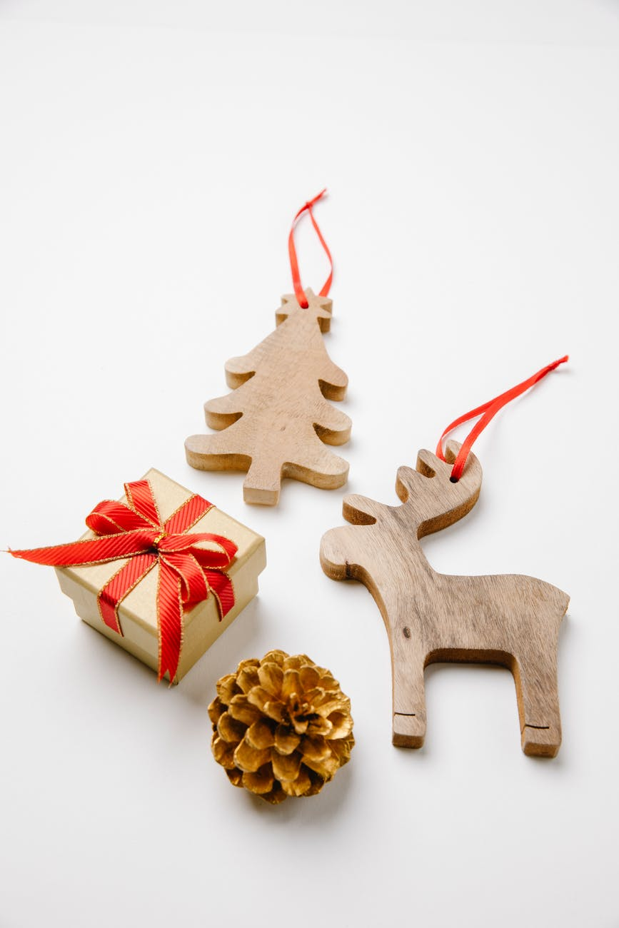 christmas decorations with gift and cone